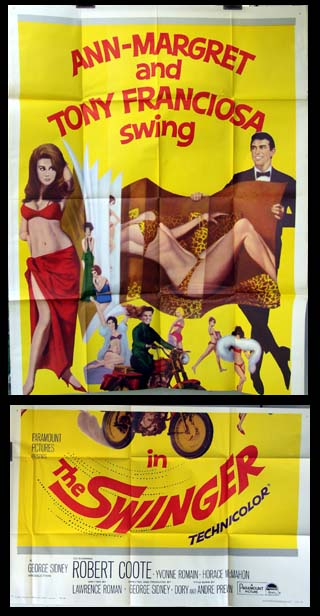 Pictured is a US three-sheet poster for the 1966 George Sidney film The Swinger starring Ann-Margret as Kelly Olsson.