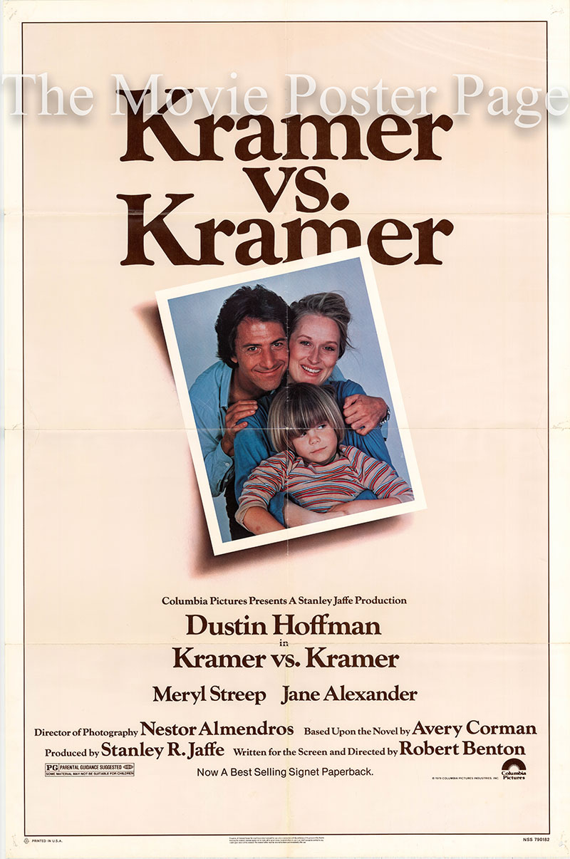 Pictured is a US one-sheet poster for the 1979 Robert Benton film Kramer vs. Kramer starring Dustin Hoffman.