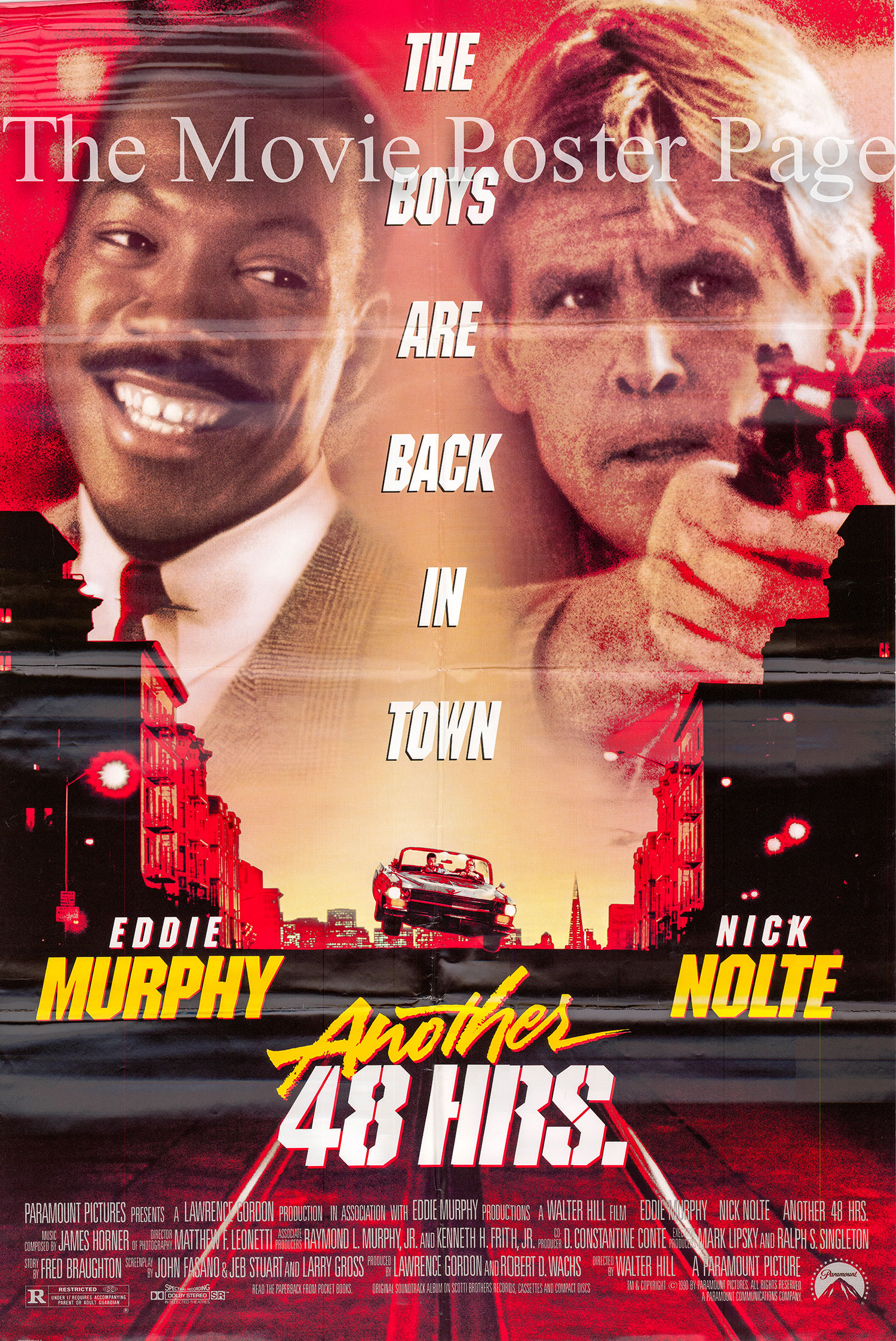 Pictured is a US promotional one-sheet poster for the 1990 Walter Hill film Another 48 Hours starring Eddie Murphy.