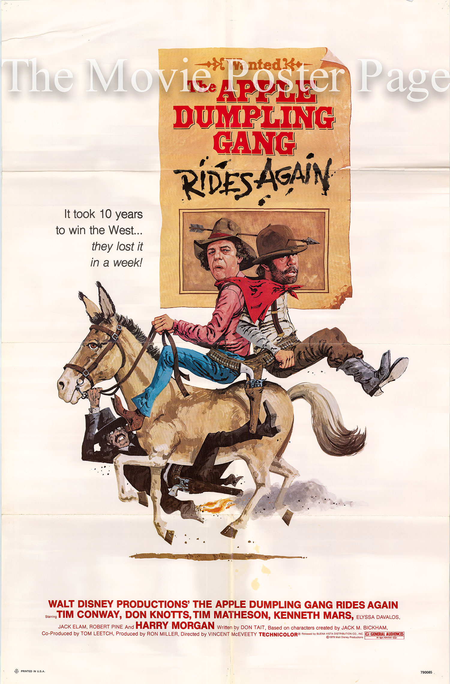Pictured is a US one-sheet poster for the 1979 Vincent McEveety film The Apple Dumpling Gang Rides Again starring Tim Conway and Don Knotts.