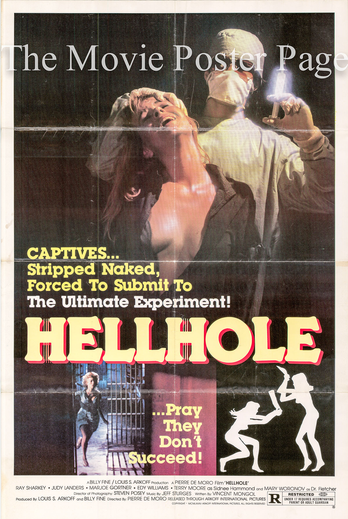 Pictured is a US one-sheet poster for the 1985 Pierre De Moro film Hellhole starring Ray Sharkey.