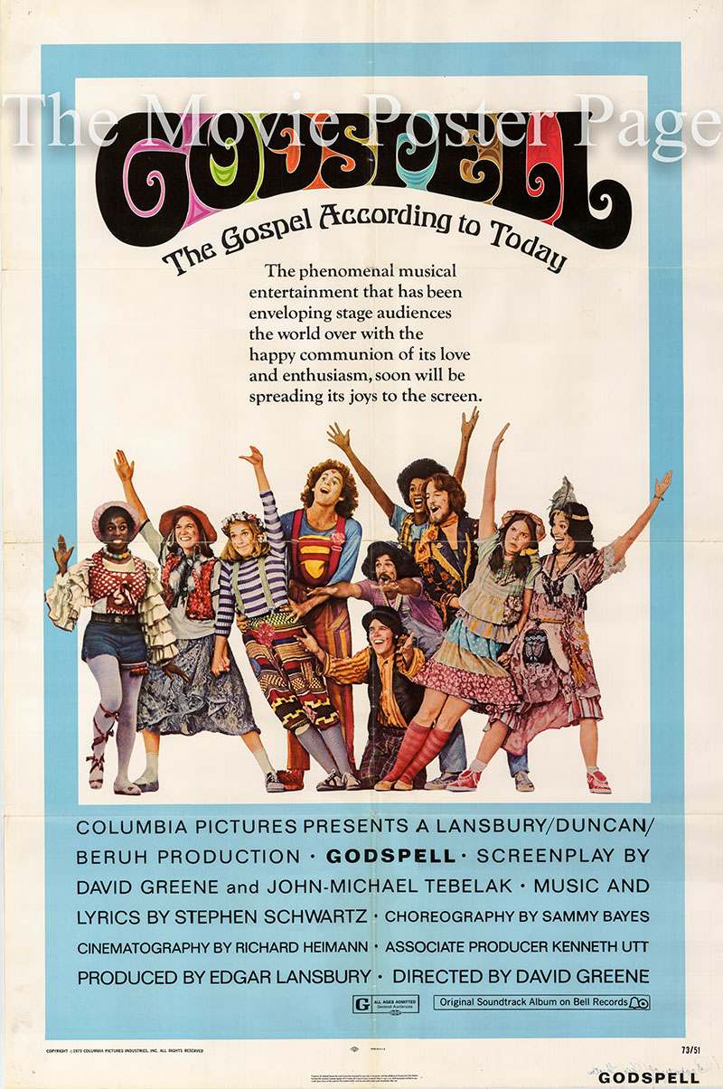 Pictured is a US one-sheet poster for the 1973 David Greene film Godspell starring Victor Garber as Jesus.