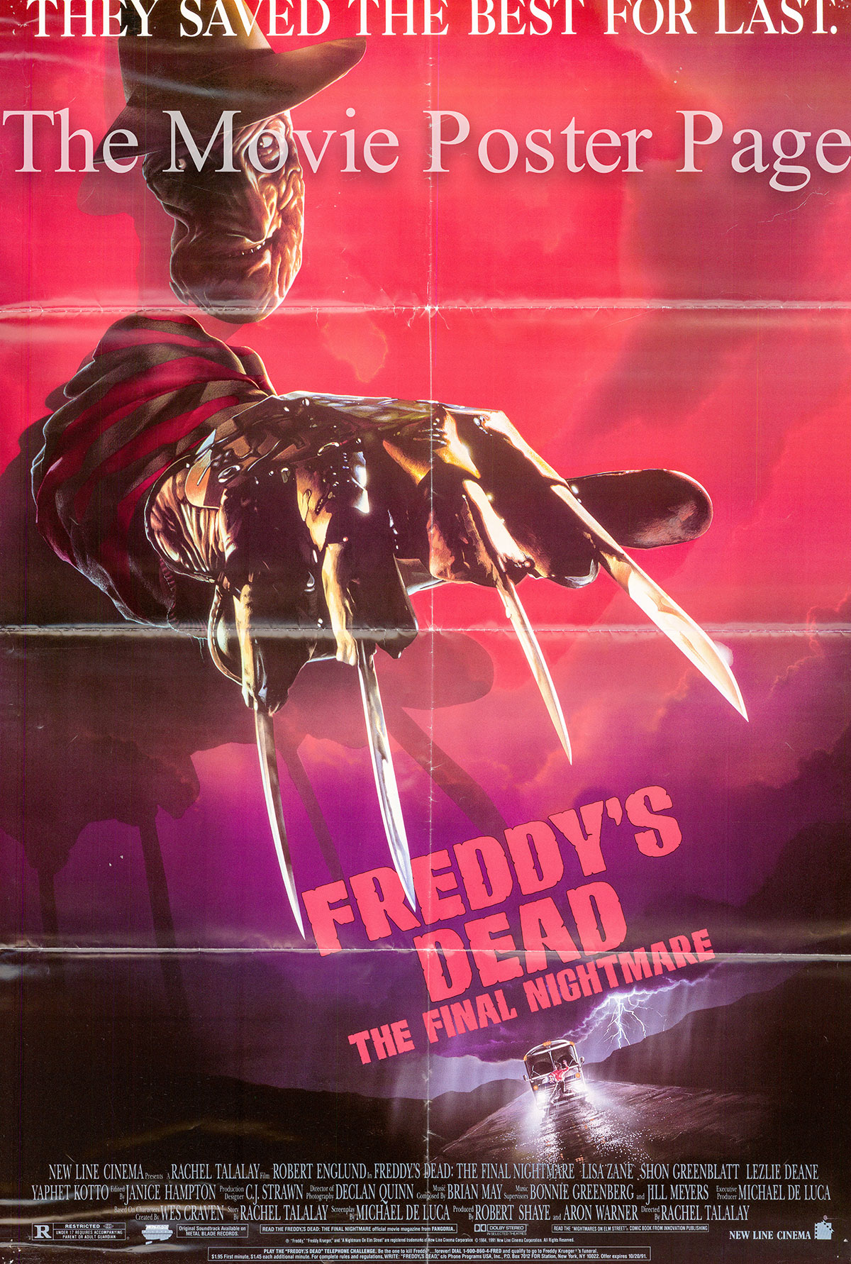 Pictured is a US promotional one-sheet poster for the 1991 Rachel Talalay film Freddy's Dead: The Final Nightmare starring Robert Englund.