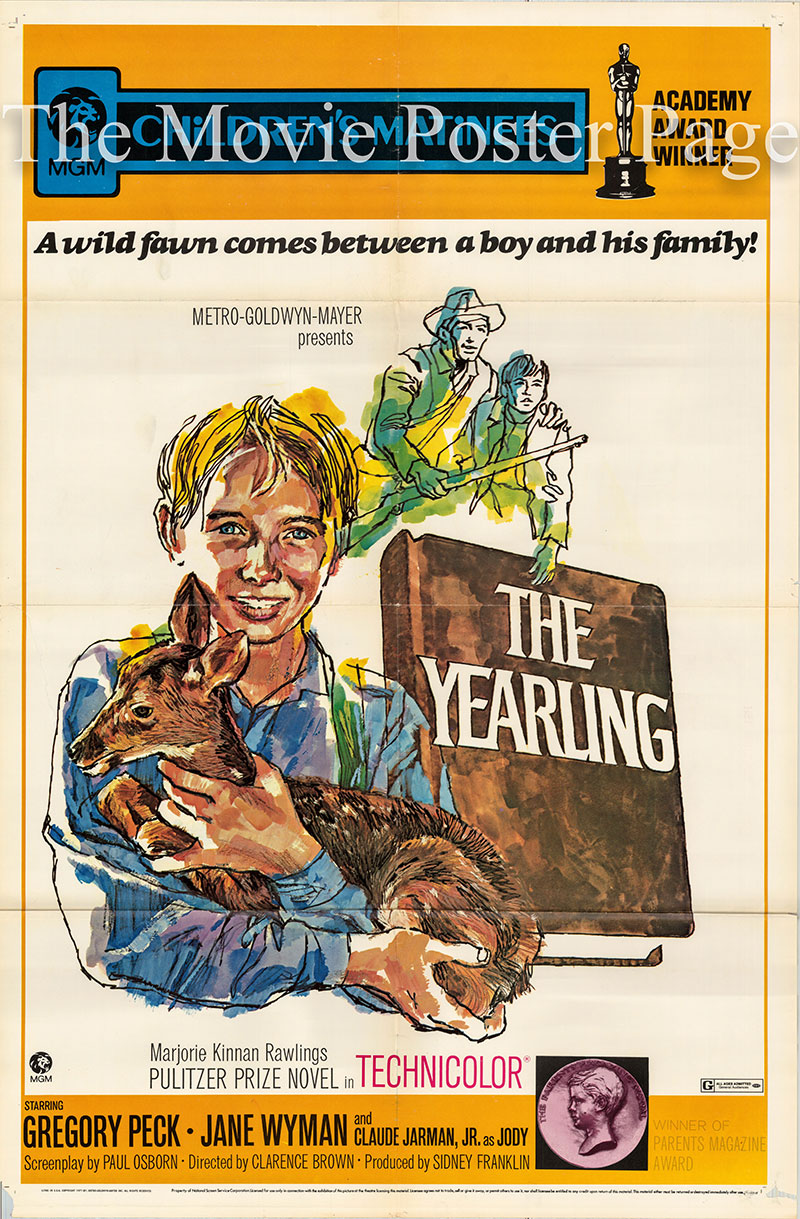 Pictured is a US one-sheet poster for a 1972 rerelease of the 1946 Clarence Brown film The Yearling starring Gregory Peck as Penny Baxter.