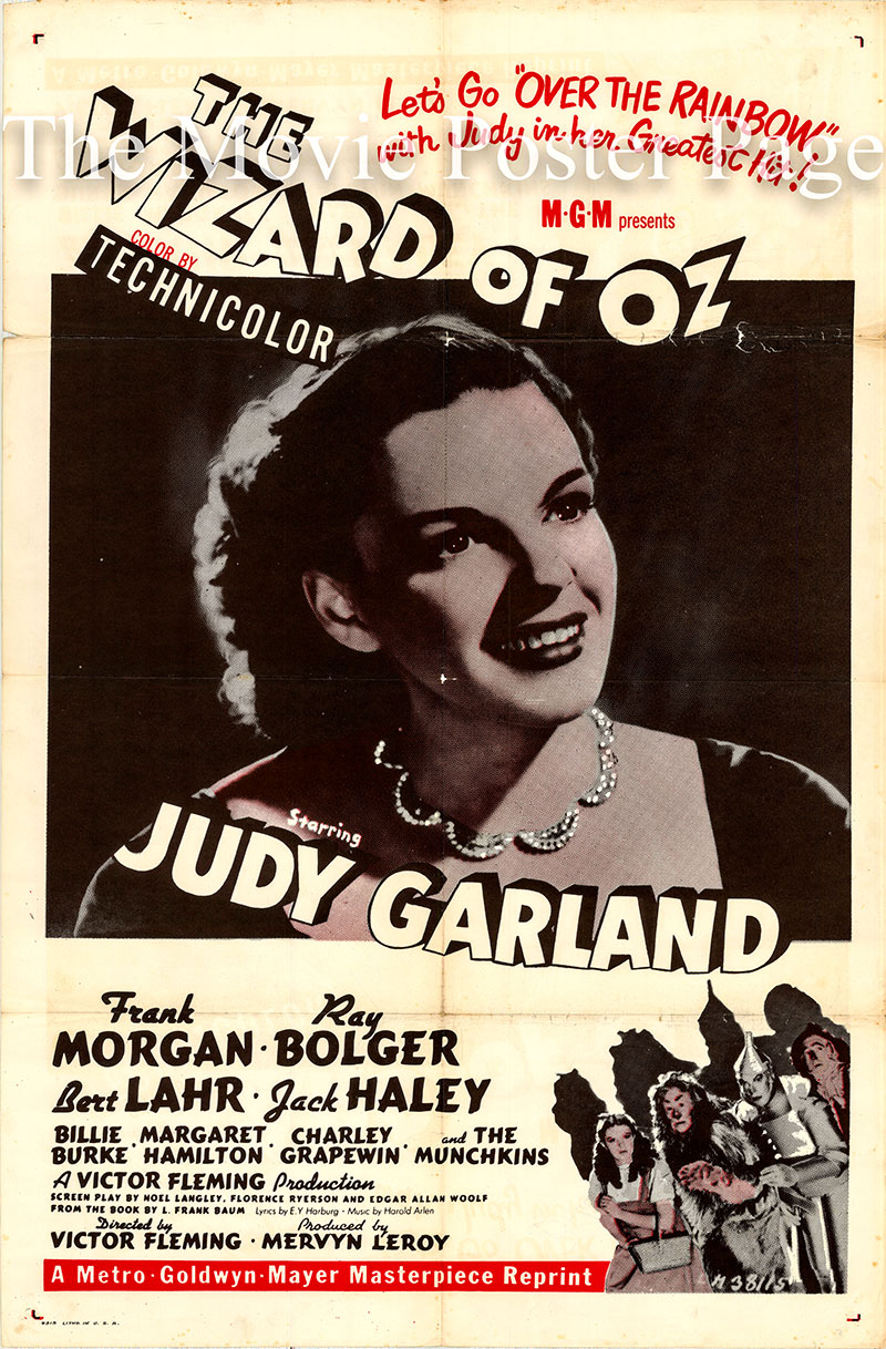 Pictured is a reprint of a US MGM one-sheet poster for the 1939 Victor Fleming film The Wizard of Oz starring Judy Garland as Dorothy Gale.