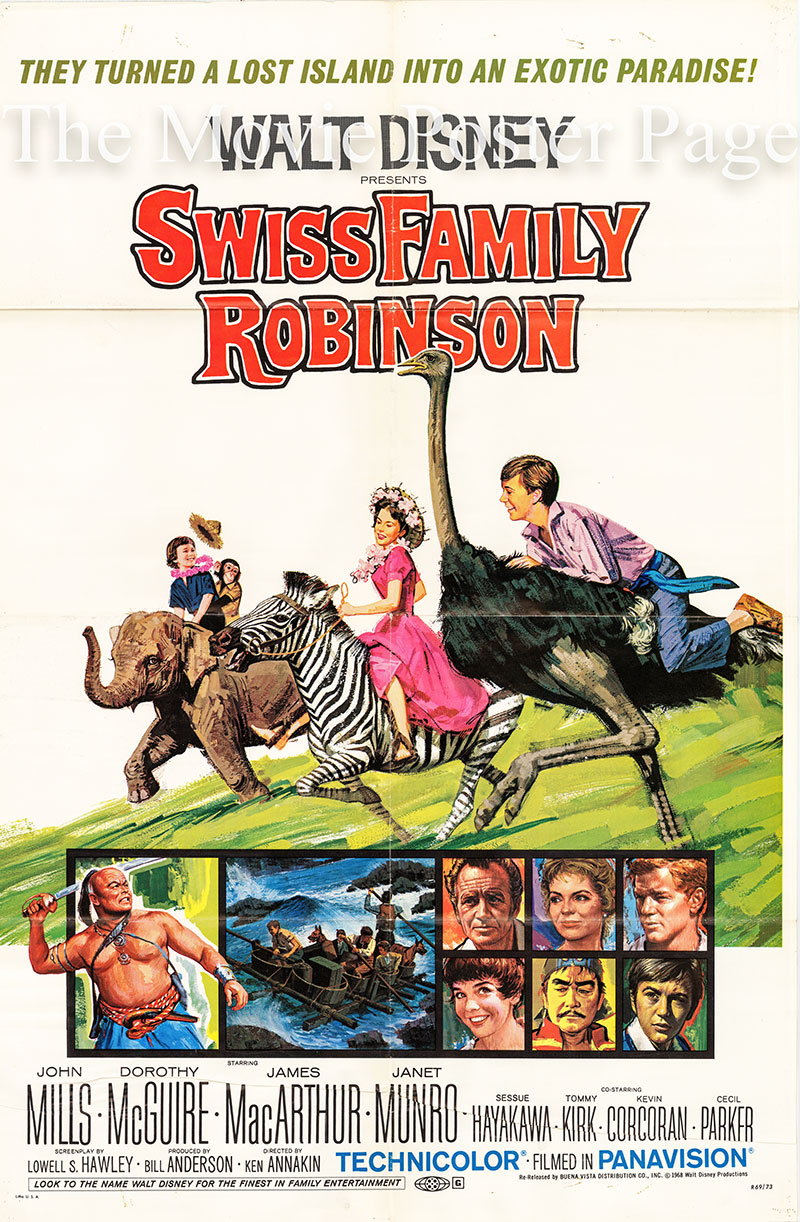 Pictured is a US one-sheet poster for a 1969 rerelease of the 1960 Ken Annakin film Swiss Family Robinson starring John Mills as Father.