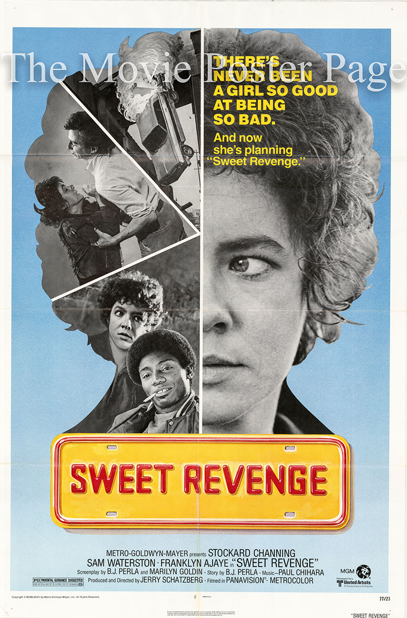 Pictured is a US one-sheet poster for the 1976 Jerry Schatzberg film Sweet Revenge starring Stocksard Channing as Vurria Kowsky.
