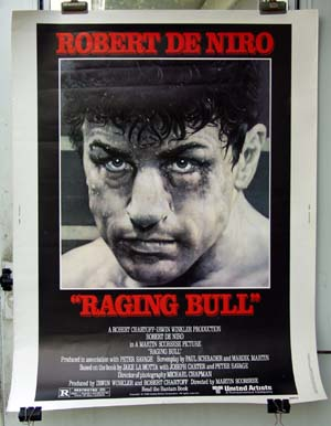 Pictured is the US 30x40 poster for the 1980 Martin Scorcese film Raging Bull starring Robert DeNiro.