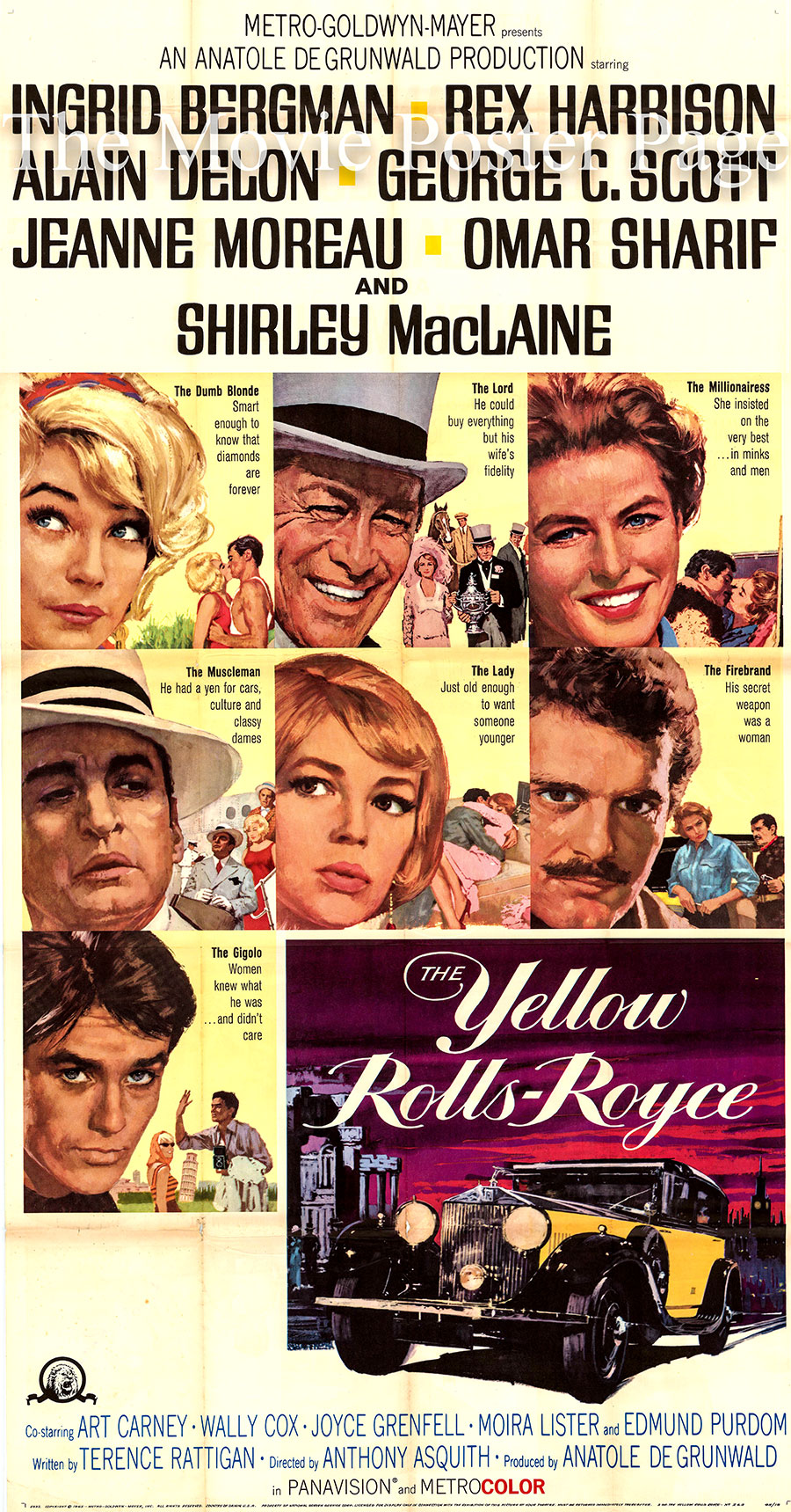 Pictured is a US three-sheet poster for the 1964 Anthony Asquith film The Yellow Rolls Royce, starring Ingrid Bergman as Gerda Millett.