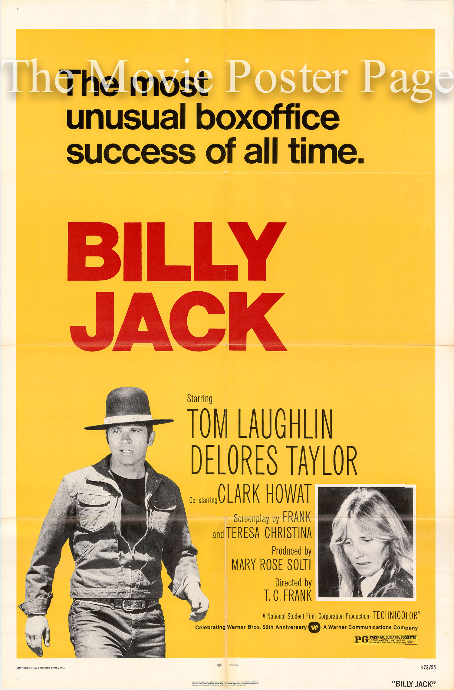 Pictured is a US one-sheet poster for a 1973 rerelease of the 1971 Tom Laughlin film Billy Jack starring Tom Laughlin as Bily Jack.