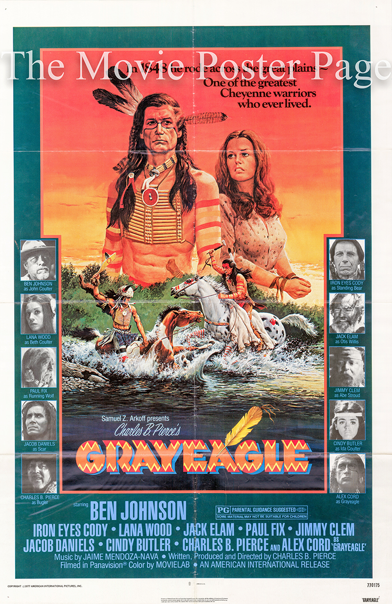 Pictured is a US one-sheet poster for the 1977 Charles B. Pierce film Grayeagle starring Ben Johnson.