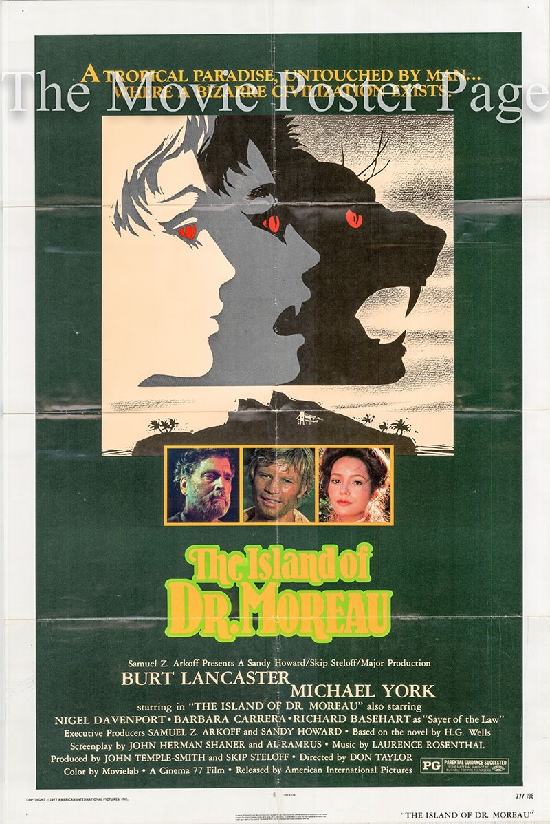 Pictured is a US one-sheet poster for the 1977 Don Taylor film The Island of Dr. Moreau starring Burt Lancaster.