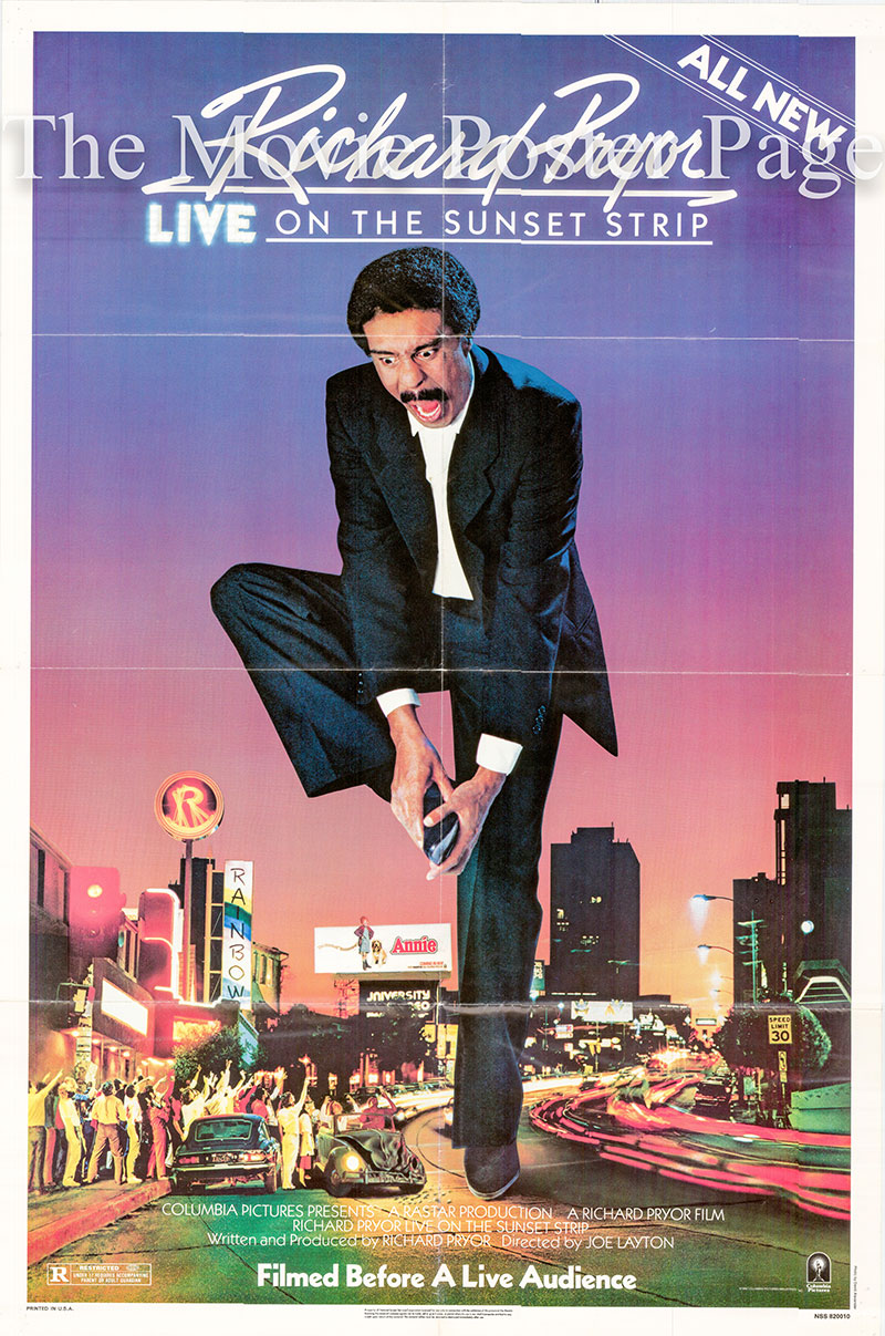 Pictured is a US one-sheet poster for the 1982 Joe Layton film Richard Pryor Live on the Sunset Strip starring Richard Pryor.