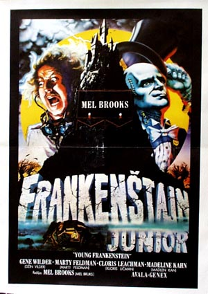 Pictured is a Yugoslavian promotional poster for the 1974 Mel Brooks film Young Frankenstein starring Gene Wilder and Teri Garr.
