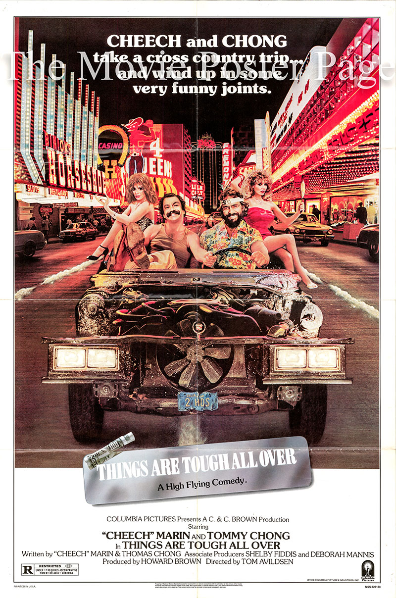 Pictured is a US one-sheet poster for the 1982 Tom Avildsen film Things Are Tough All Over starring Tommy Chong as Thomas Chong.