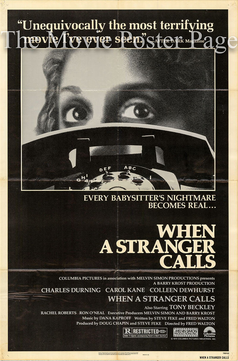 Pictured is a US one-sheet poster for the 1979 Fred Walton film When a Stranger Calls starring Carol Cane as Jill Johnson.
