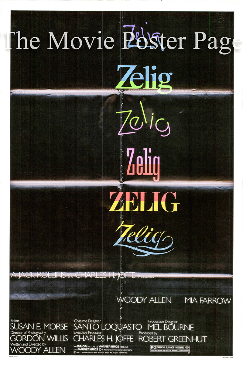 Pictured is a US one-sheet promotional poster for the 1983 Woody Allen film Zelig, starring Woody Allen and Mia Farrow.