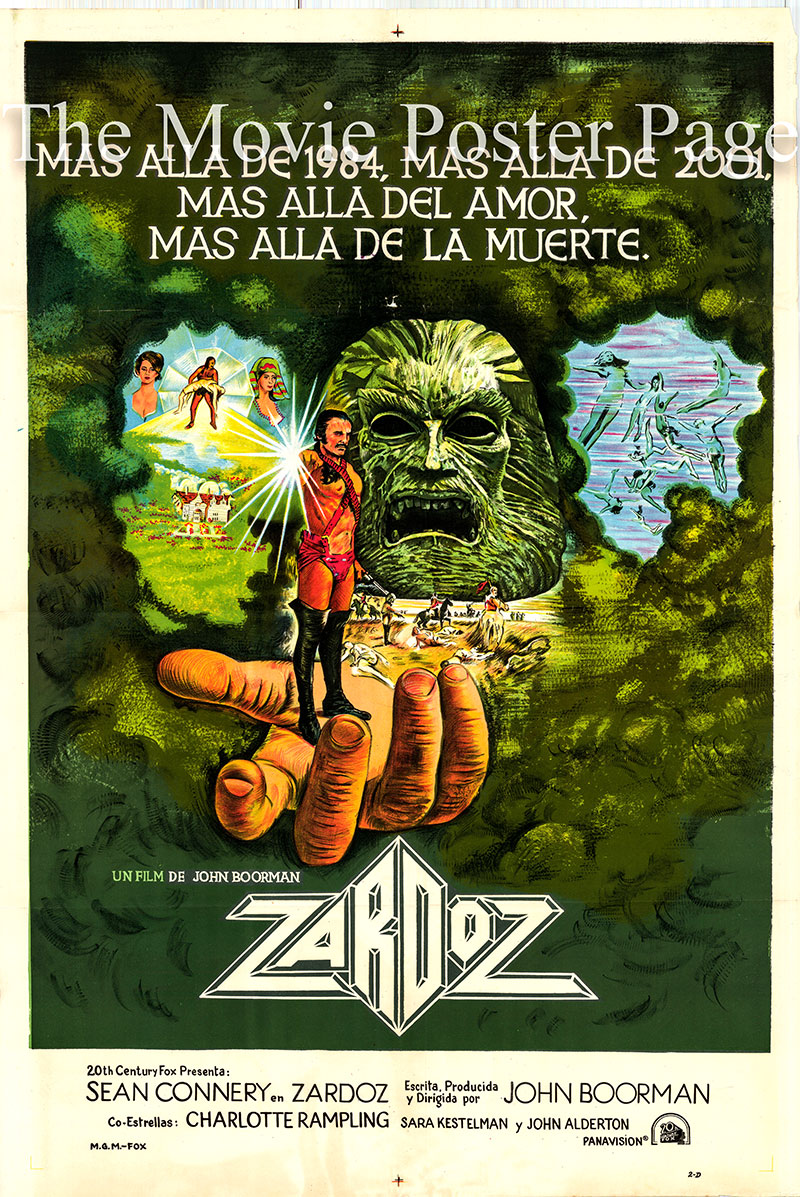 Pictured is an Argentine one-sheet poster for the 1974 John Boorman film Zardoz starring Sean Connery as Zed.