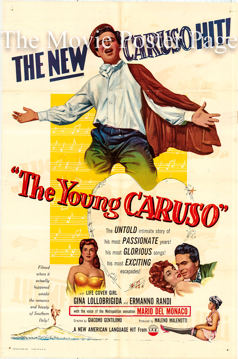 Pictured is a US one-sheet poster for the 1953 Giacomo Gentilomo film The Young Caruso starring Ermanno Randi as Enrico Caruso.