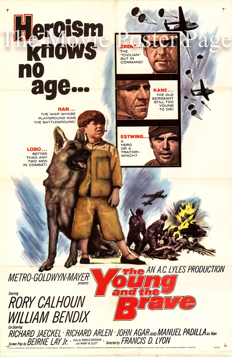 Pictured is a US promotional one-sheet poster for the 1963 Francis D. Lyon film The Young and the Brave starring Rory Calhoun as Msgt. Ed Brent.