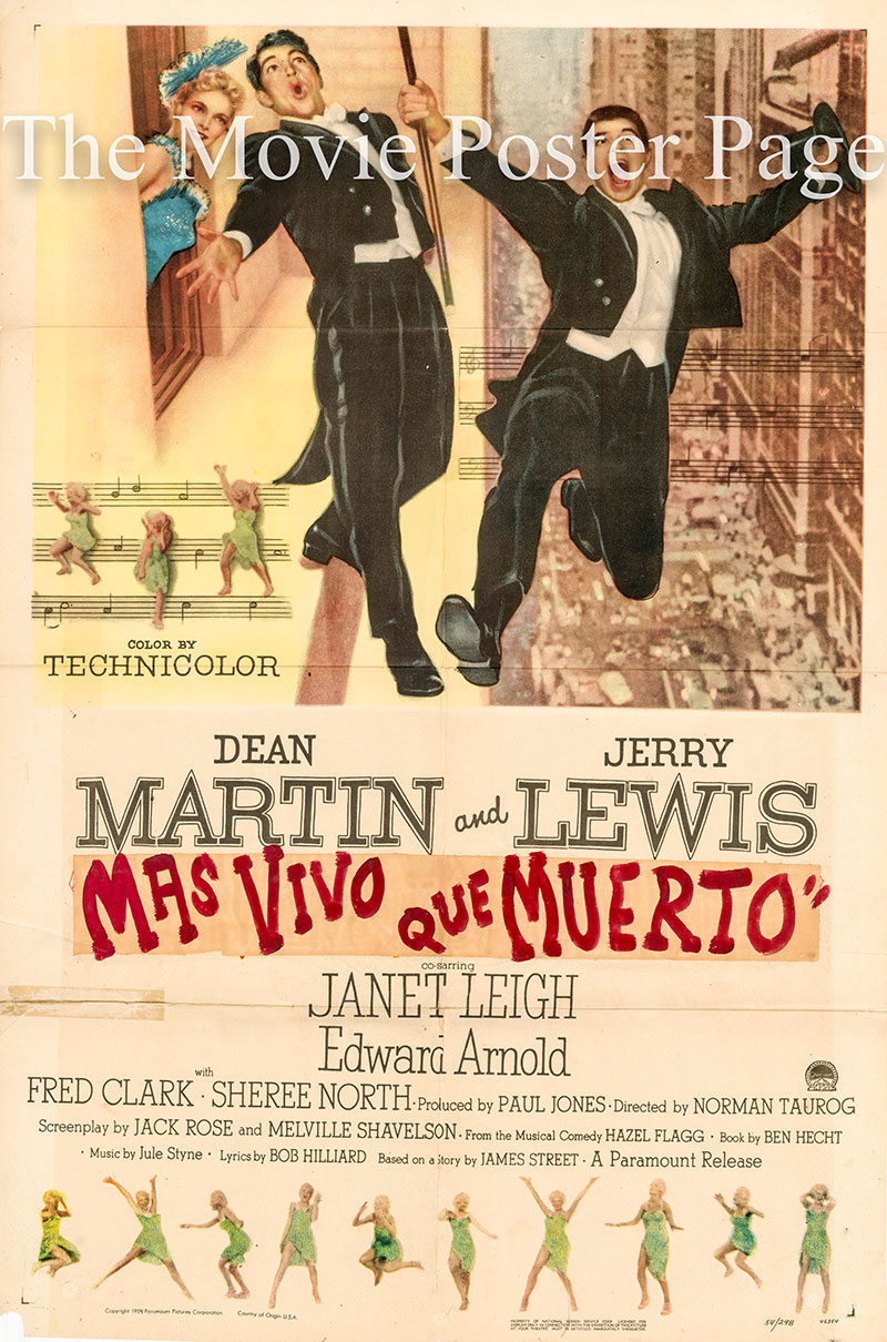 Pictured is a US one-sheet poster for the 1954 Norman Tarog film Living it Up starring Dean Martin and Jerry Lewis.