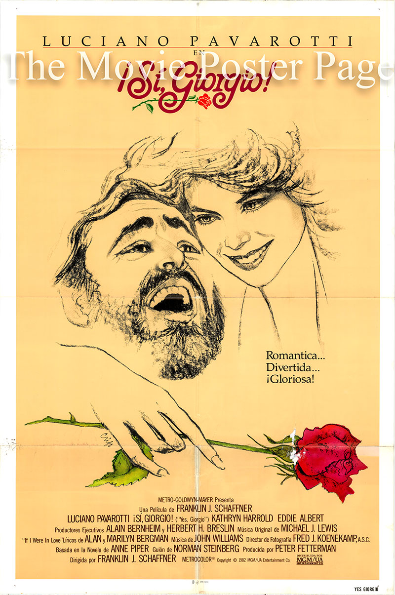 Pictured is a Spanish one-sheet poster for the 1982 Franklin J. Schaffner film Yes, Giorgio starring Luciano Pavarotti as Giorgio Fini.