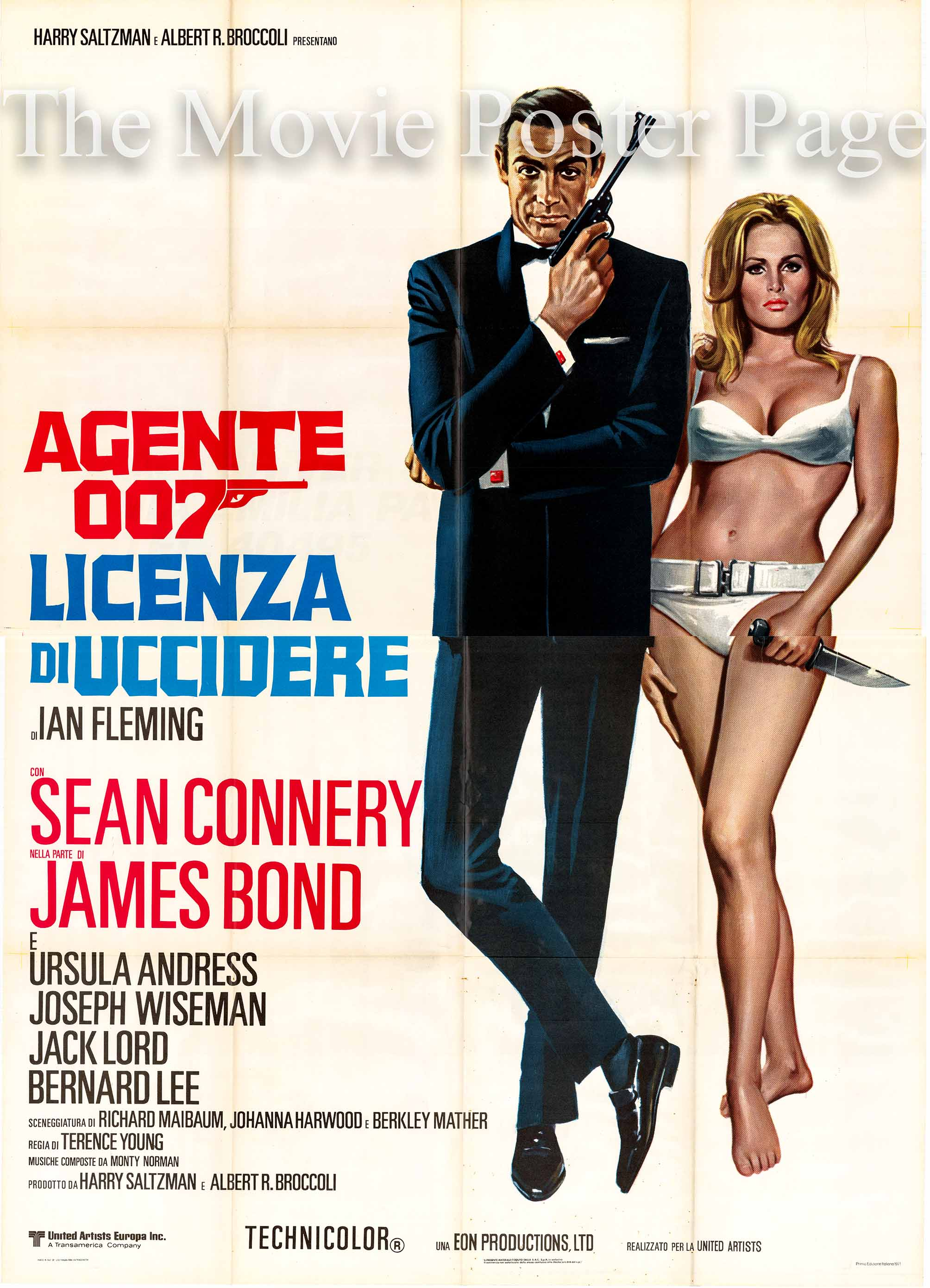 Pictured is an Italian four-sheet promotional poster for a 1971 rerelease of the 1962 Terence Young film Dr. No starring Sean Connery as James Bond.