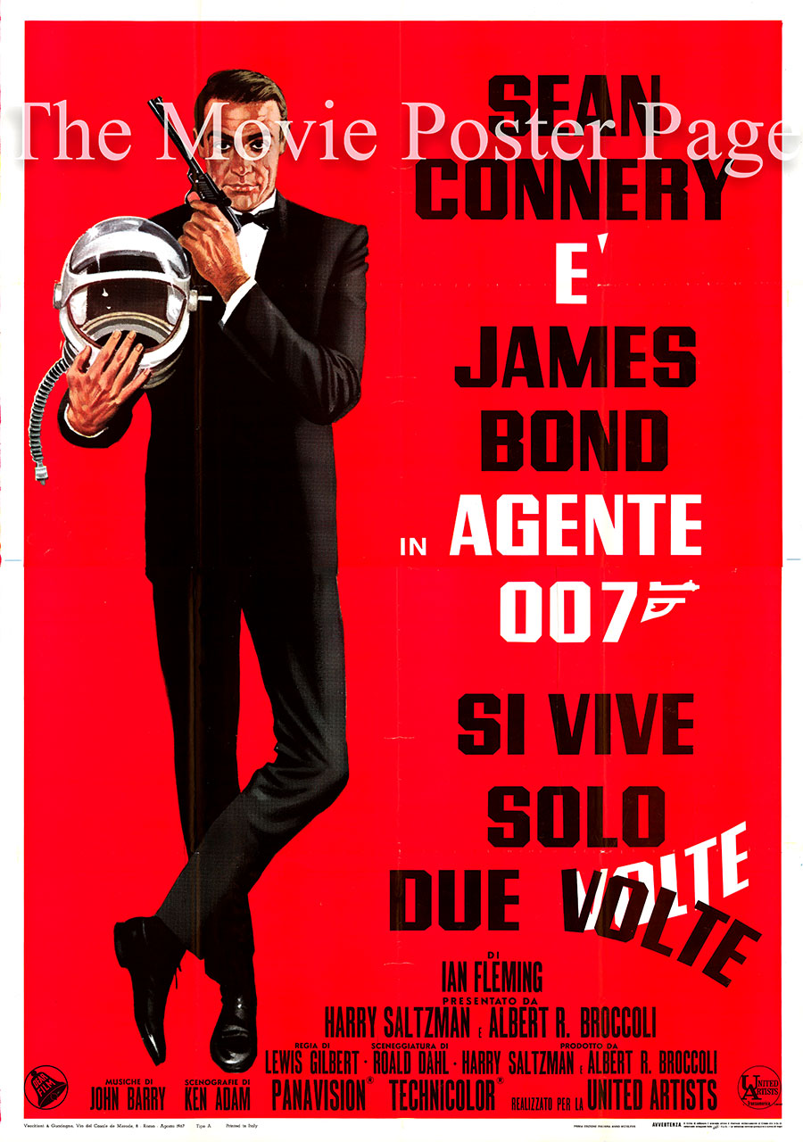 Pictured is an Italian four-sheet poster for the 1967 Lewis Gilbert film You Only Live Twice starring Sean Connery as James Bond.