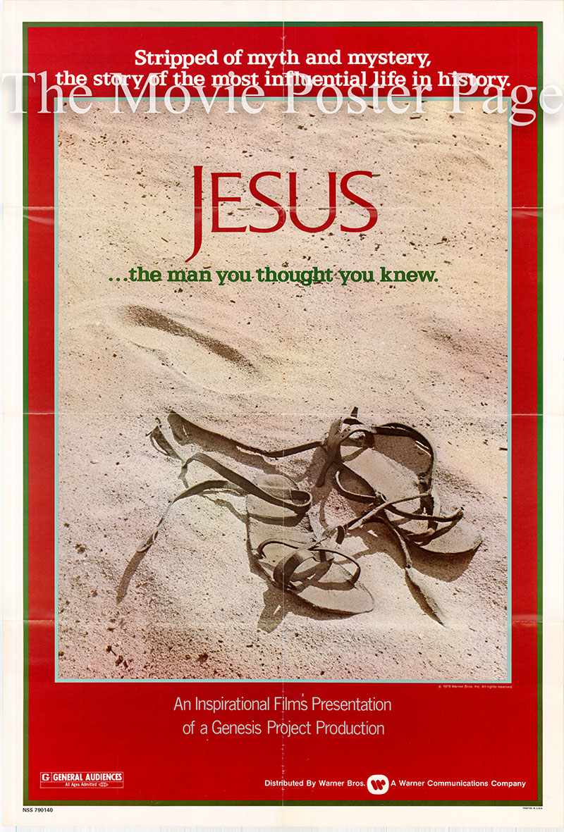Pictured is a US one-sheet poster for the 1979 John Krish and Peter Sykes film Jesus starring Brian Deacon as Jesus.