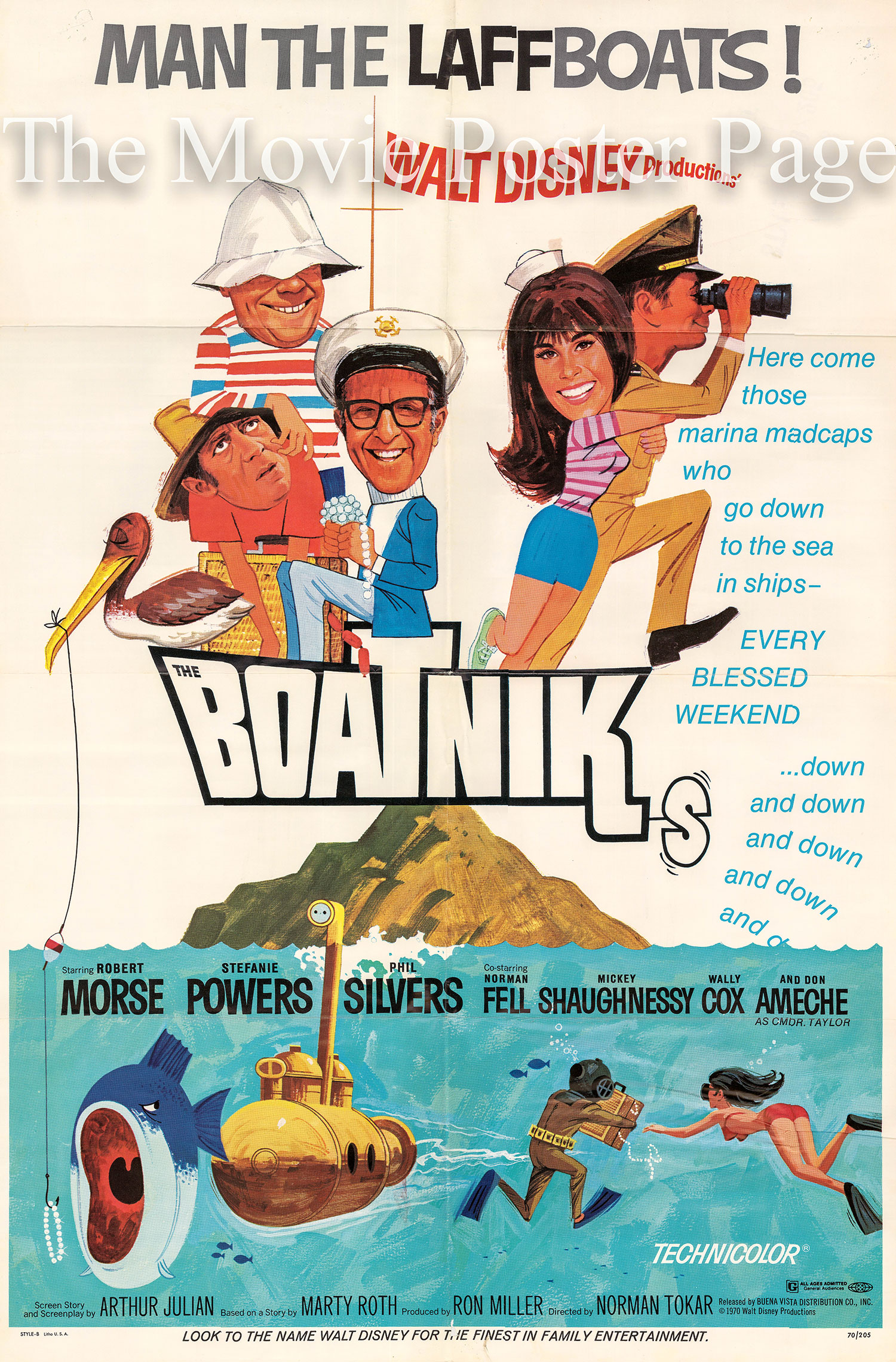 Pictured is a US one-sheet promotional poster for the 1970 Norman Tokar film Boatniks starring Robert Morse as Ensign Garland.