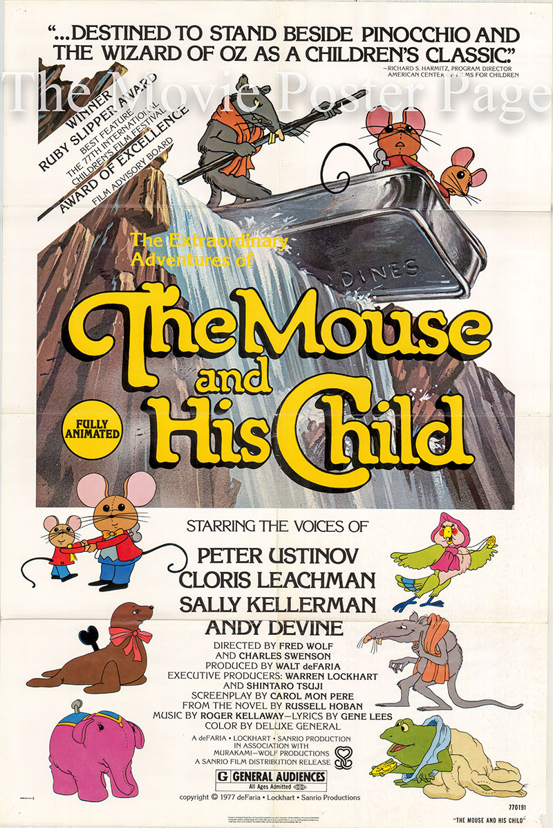 Pictured is a US one-sheet poster for the 1977 Fred Wolf film The Mouse and His Child, starring Peter Ustinov.