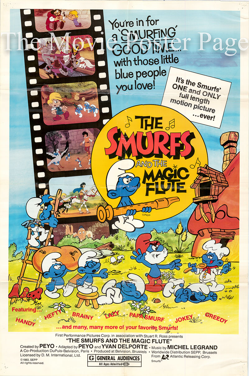 Pictured is a US one-sheet poster for a 1983 rerelease of the 1976 Peyo film The Smurfs and the Magic Flute starring Georges Atlas as the voice of Senechal.
