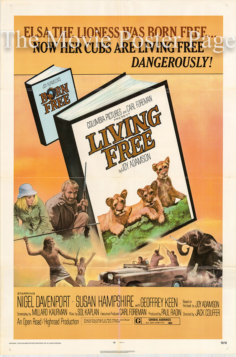 Pictured is a US one-sheet poster for the 1972 Jack Couffer film Living Free starring Nigel Davenport.