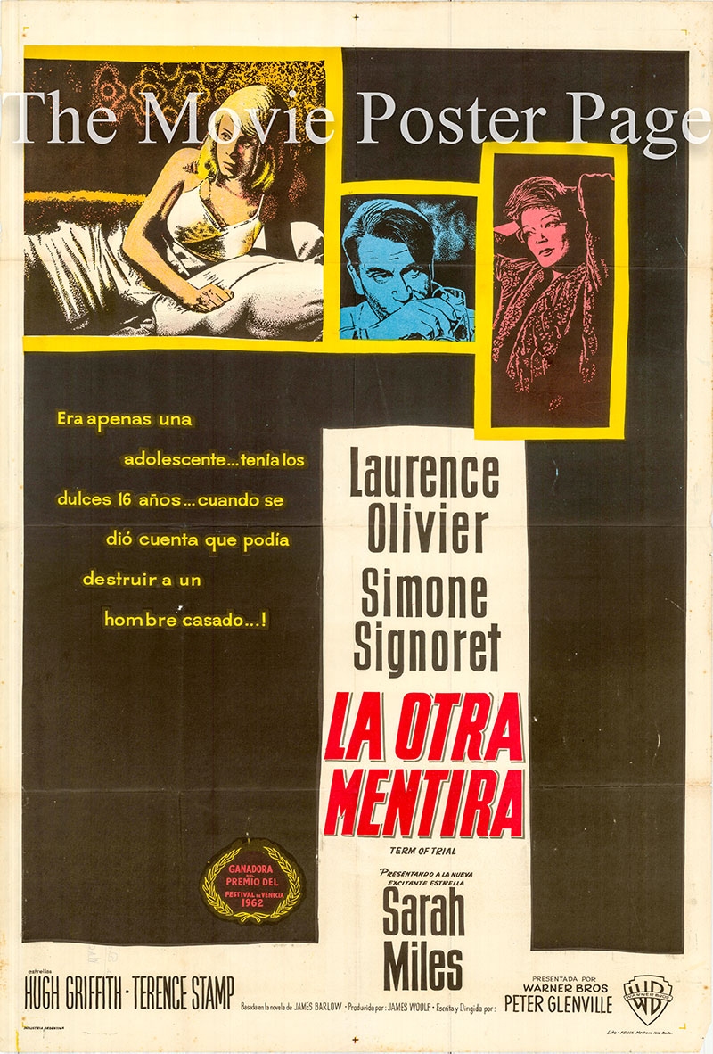 Pictured is an Argentine one-sheet poster for the 1962 Peter Glenville film Term of Trial starring Laurance Olivier as Graham Weir.