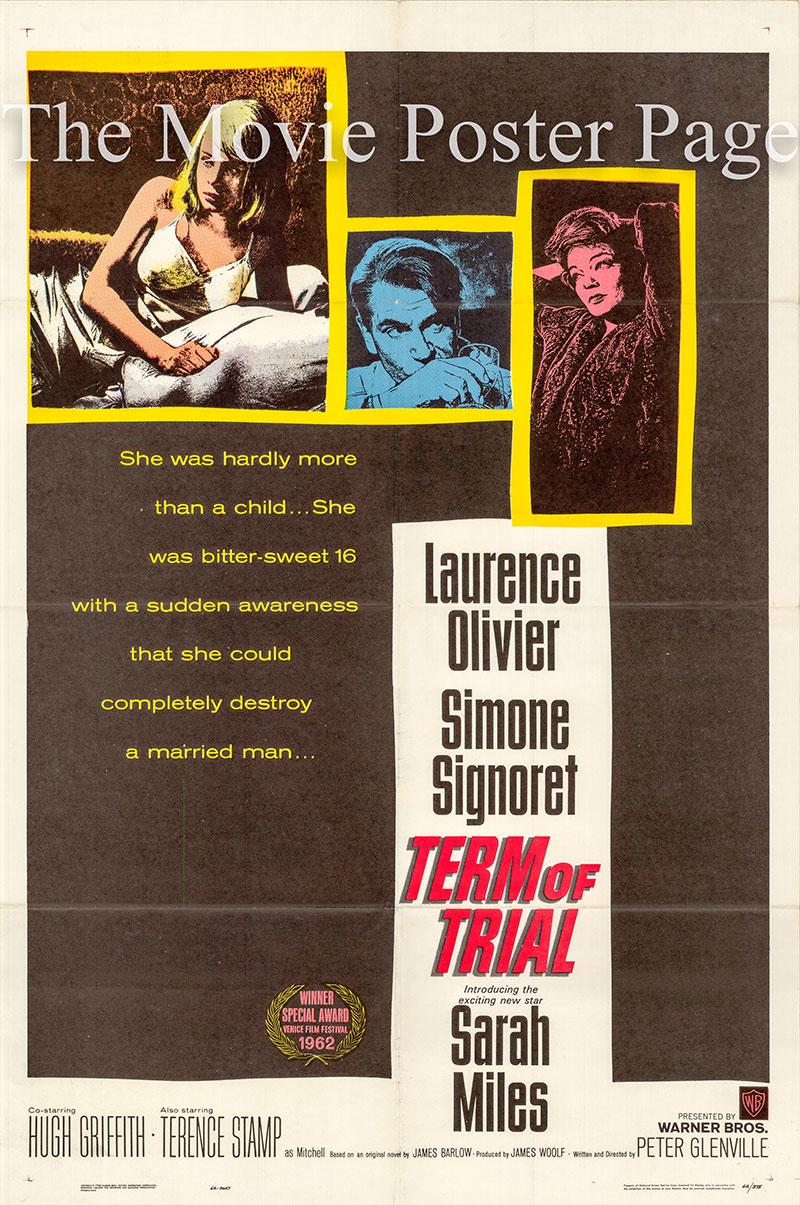 Pictured is a US one-sheet poster for the 1962 Peter Glenville film Term of Trial starring Laurence Olivier as Graham Weir.