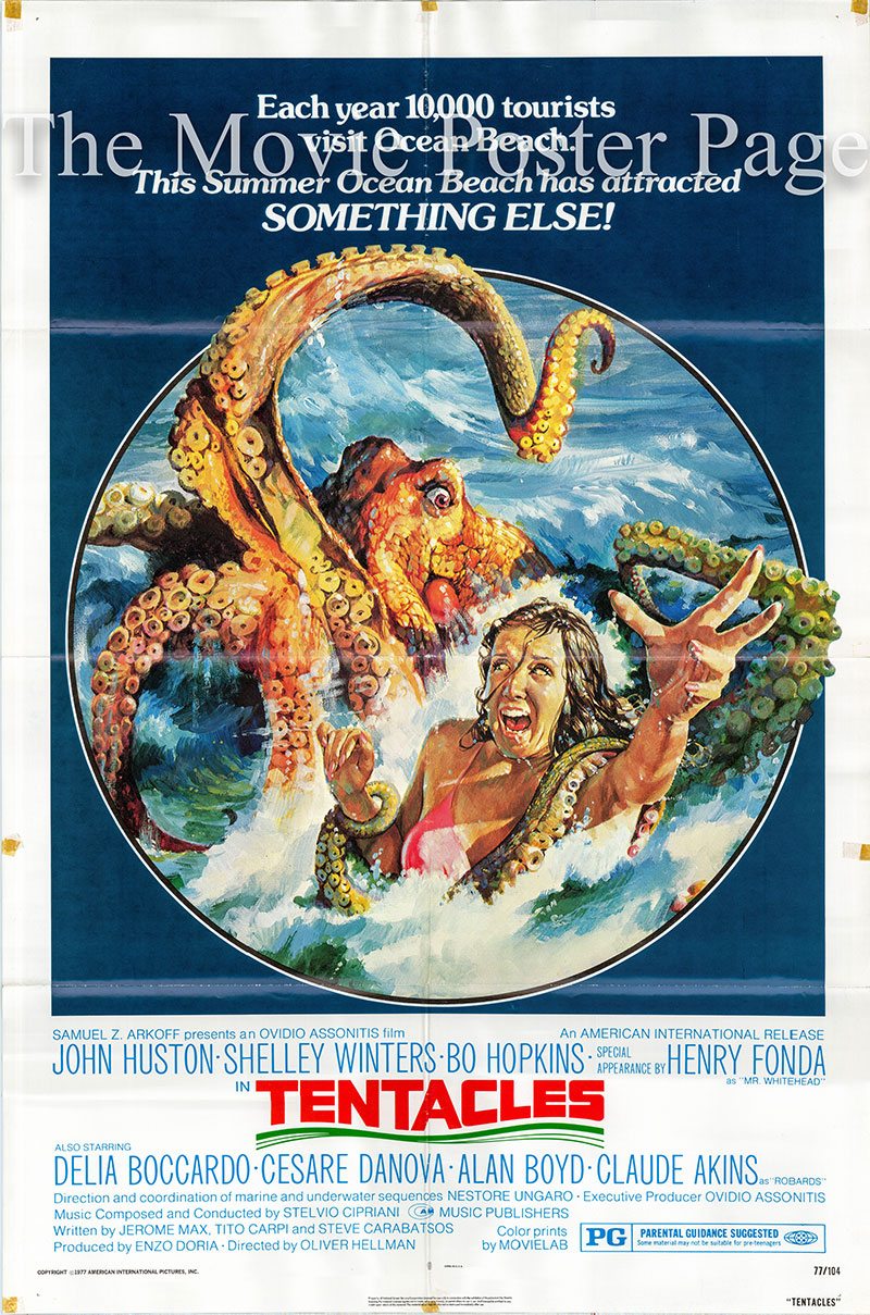 Pictured is a US one-sheet poster for the 1977 Olvidio G. Assonitis film Tentacles starring John Huston as Ned Turner.