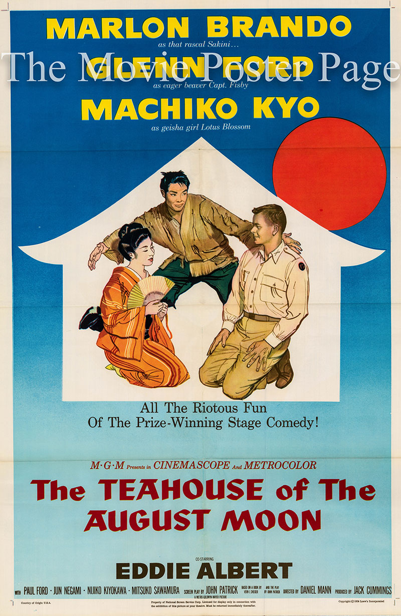 Pictured is a US one-sheet poster for the 1956 Daniel Mann film The Teahouse of the August Moon starring Marlon Brando as Sakini.