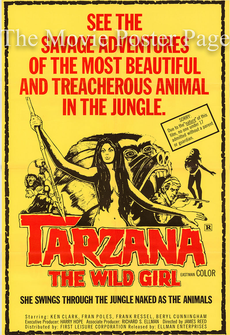 Pictured is a US one-sheet poster for the 1969 James Reed film Tarzana the Wild Girl starring Femi Benussi as Tarzana.
