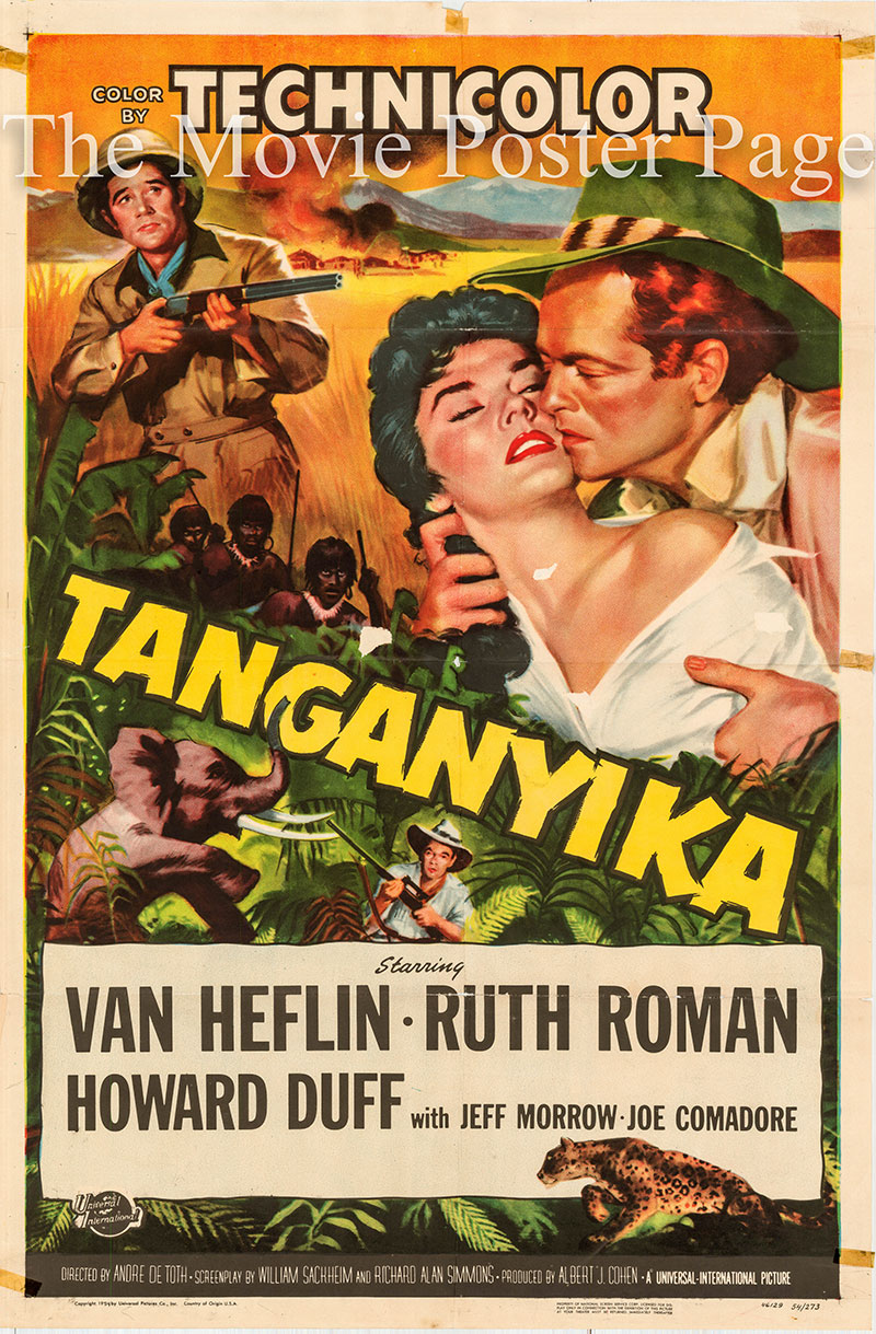 Pictured is a US one-sheet poster for the 1954 Andre De Toth film Tanganyika starring Van Heflin as John Gale.