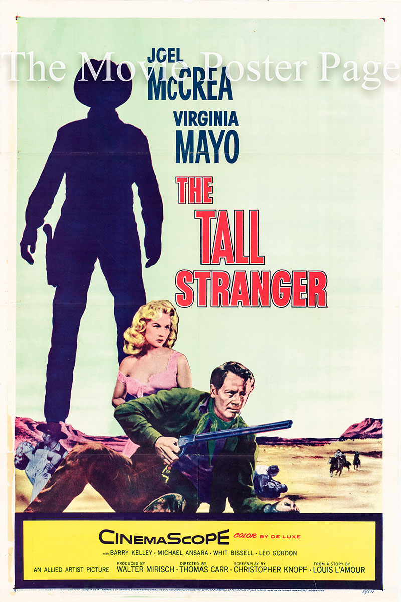 Pictured is a US one-sheet poster for the 1957 Thomas Carr film The Tall Stranger starring Joel McCrea as Ned Bannon.