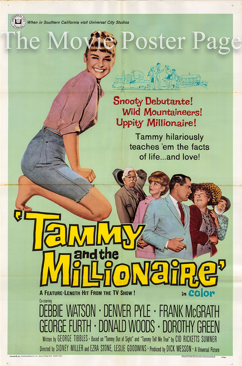 Pictured is a US one-sheet for the 1967 Leslie Goodwins, Sidney Miller, and Ezra stone film Tammy and the Millionaire starring Debbie Watson as Tammy Tarleton.