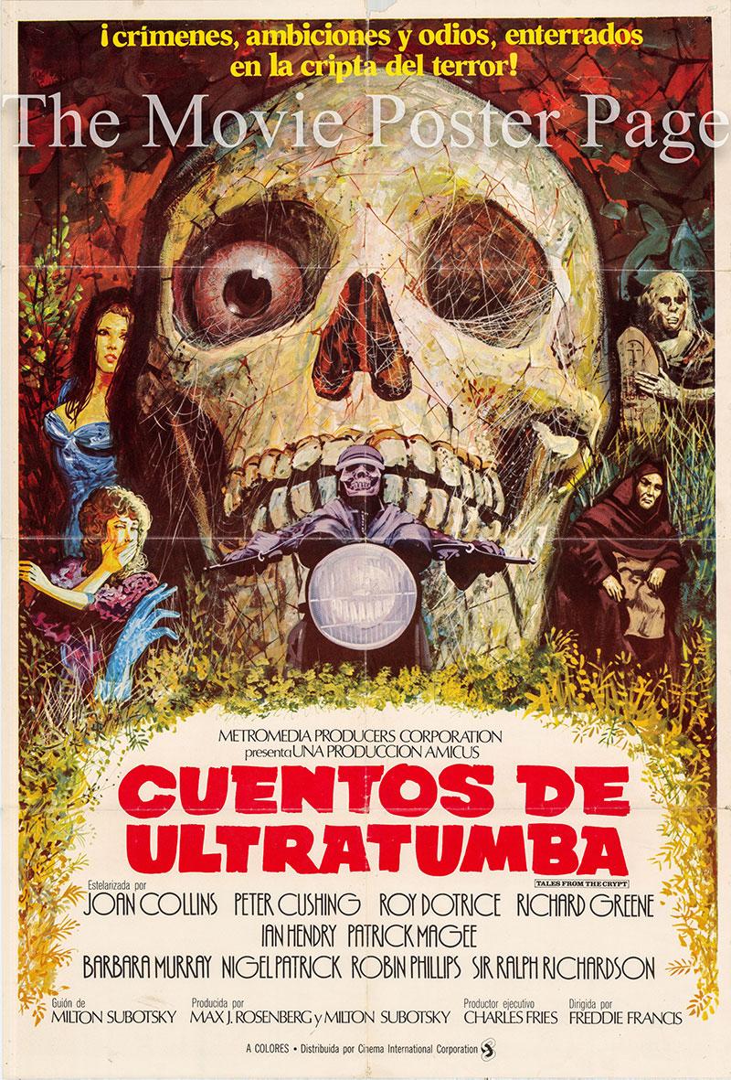 Pictured is a Spanish one-sheet poster for the 1972 Freddie Francis film Tales from the Crypt starring Peter Cushing.