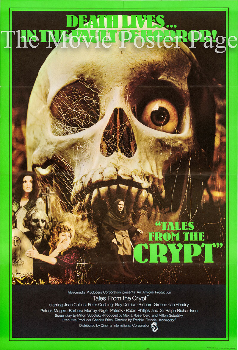 PIctured is a UK one-sheet poster for the 1972 Freddie Francis film Tales from the Crypt starring Peter Cushing as Arthur Edward Grimsdyke.