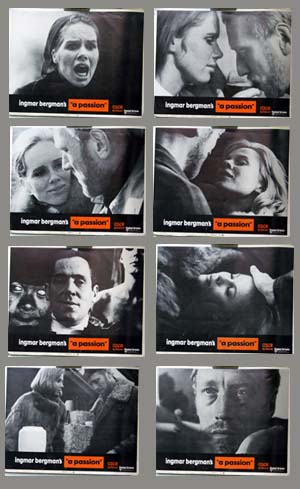 Pictured is a US lobby card set for the 1969 Ingmar Bergman film Passion starring Liv Ullmann as Anna Fromm.