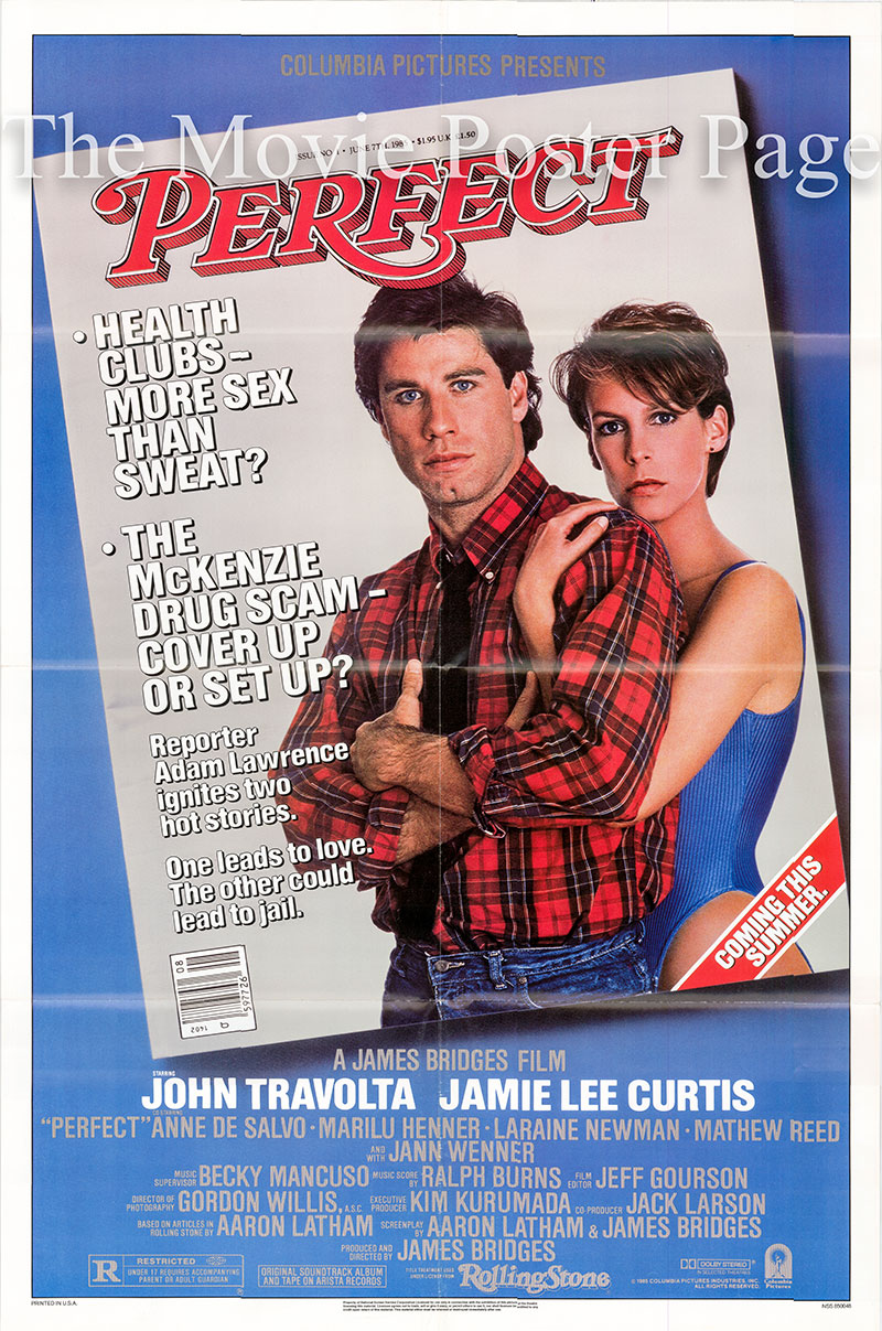 Pictured is a US one-sheet poster for the 1985 James Bridges film Perfect starring John Travolta.