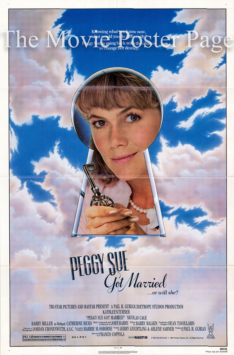 Pictured is a US one-sheet poster for the 1986 Francis Coppola film Peggy Sue Got Married starring Kathleen Turner.