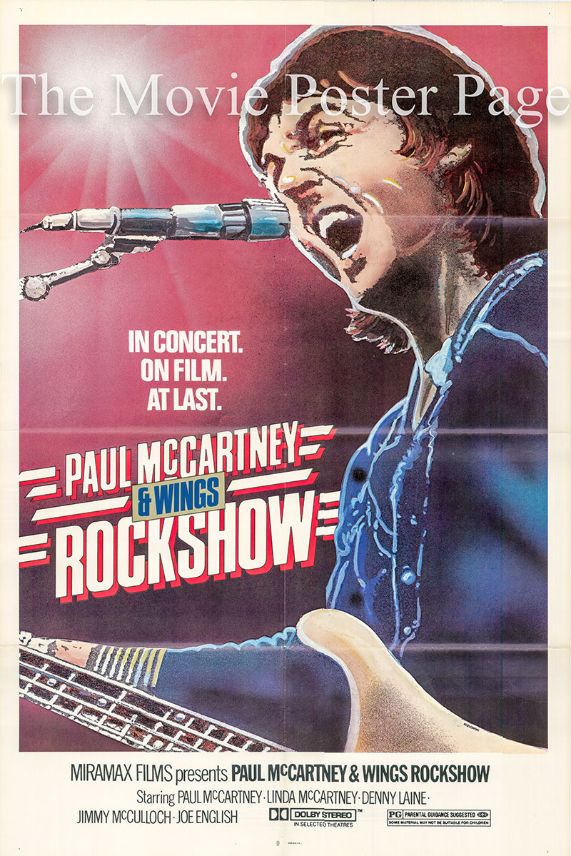 Pictured is a US one-sheet promotional poster for the 1980 Paul McCartney film Rockshow starring Paul McCartney.