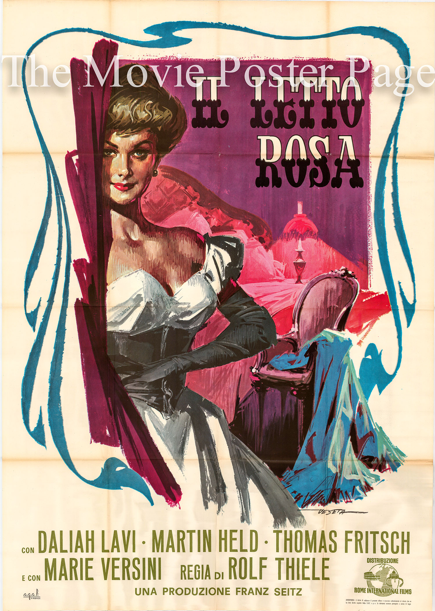 Pictured is an Italian two-sheet poster using art by Enrico De Seta to promote the 1962 Rolf Thiele film Black-White-Red Four Poster starring Daliah Lavi and Thomas Fritsch.