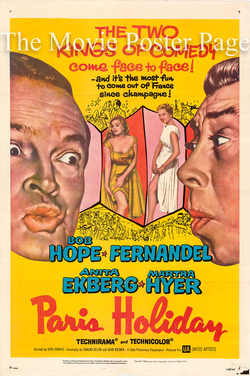Pictured is a US one-sheet poster for the 1958 Gerd Oswald film Paris Holiday starring Bob Hope as Robert Leslie Hunter.