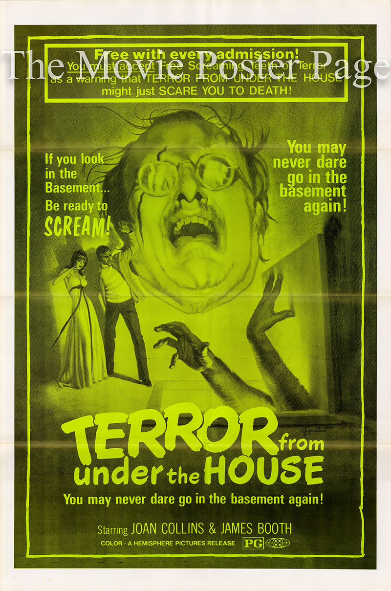 Pictured is a US one-sheet poster for the 1971 Sidney Hayers film Terror from under the House starring Joan Collins as as Carol Radford.